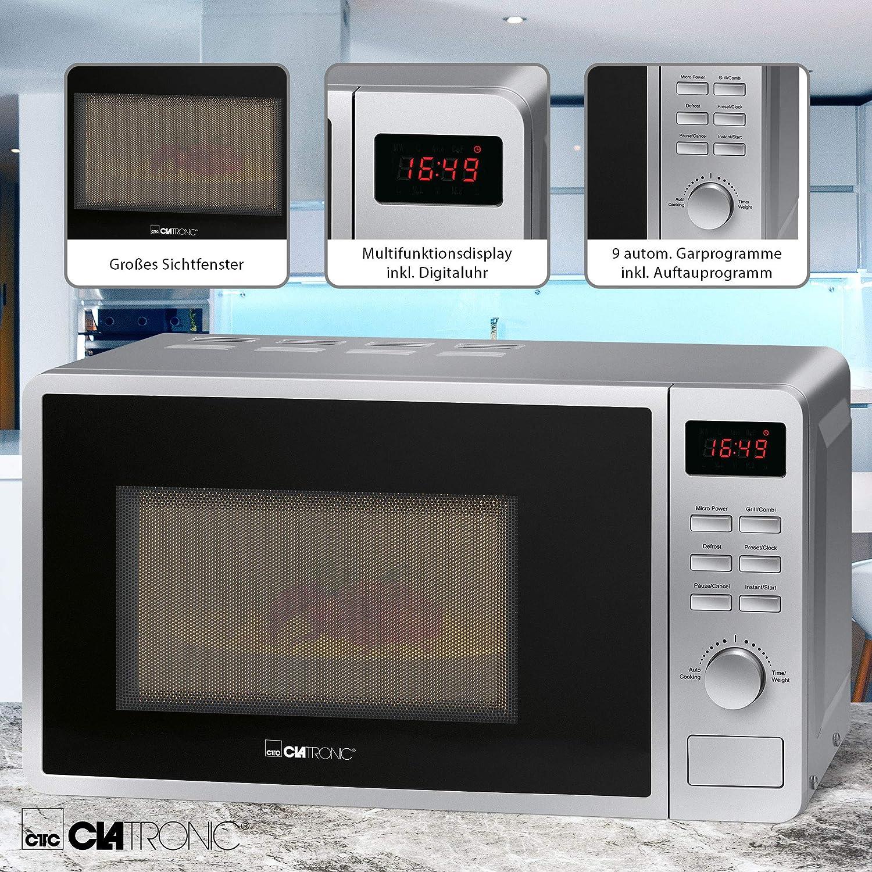 Expressprogramm// 5 Mikrowellen Clatronic MWG 793//2 in 1 Mikrowelle mit Grill// 700 W Mikrowelle// 800 W Grill// 20 L Garraum inkl und 2 Kombi-Leistungsstufen//Garraumbeleuchtung//silber