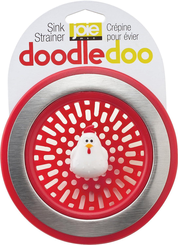 MSC International 89303 Joie Doodle Doo Kitchen Sink Strainer Basket, Rooster, 4.5-inch, Red