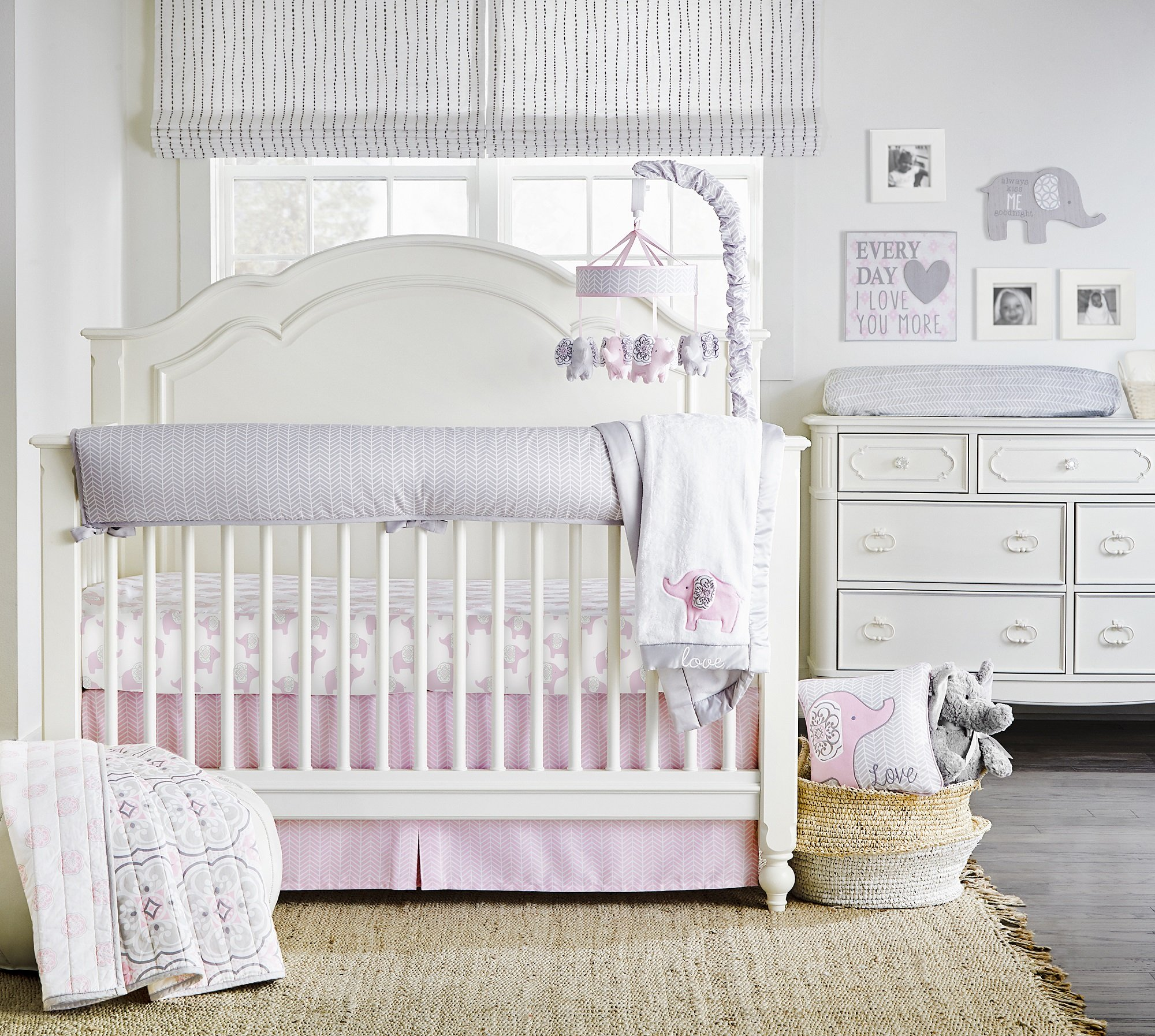 Wendy Bellissimo Baby Mobile Crib Mobile Musical Mobile – Elephant Mobile from The Elodie Collection in Pink and Grey