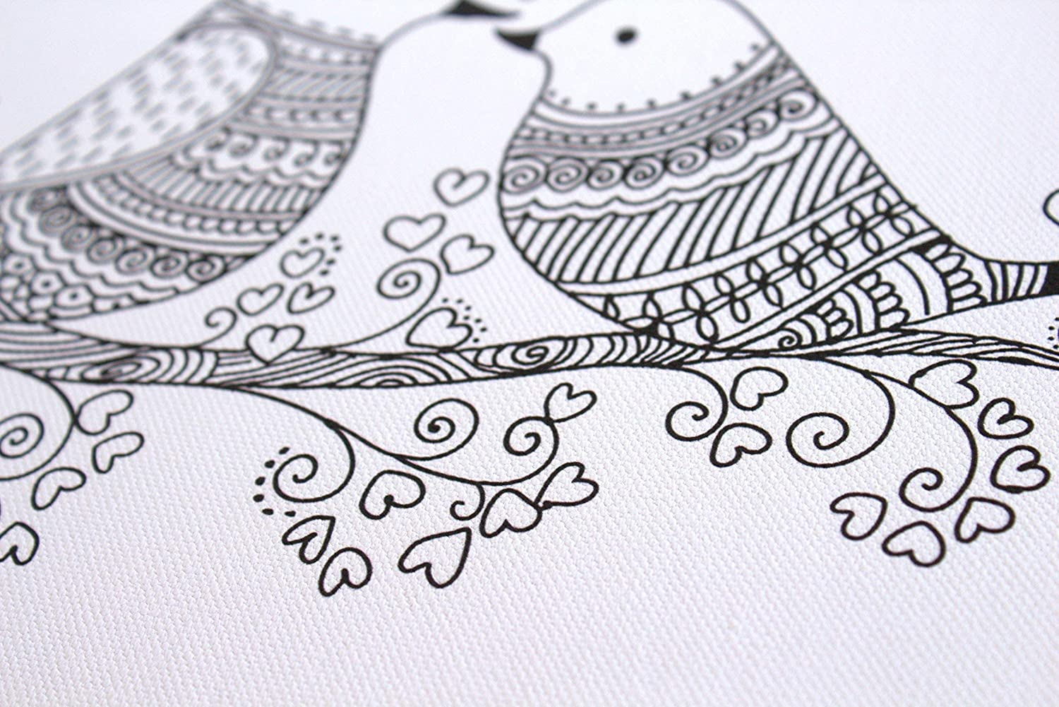 Stretched primed canvas to color 12 x 8 Inches Lovebirds Coloring Canvas For Adults