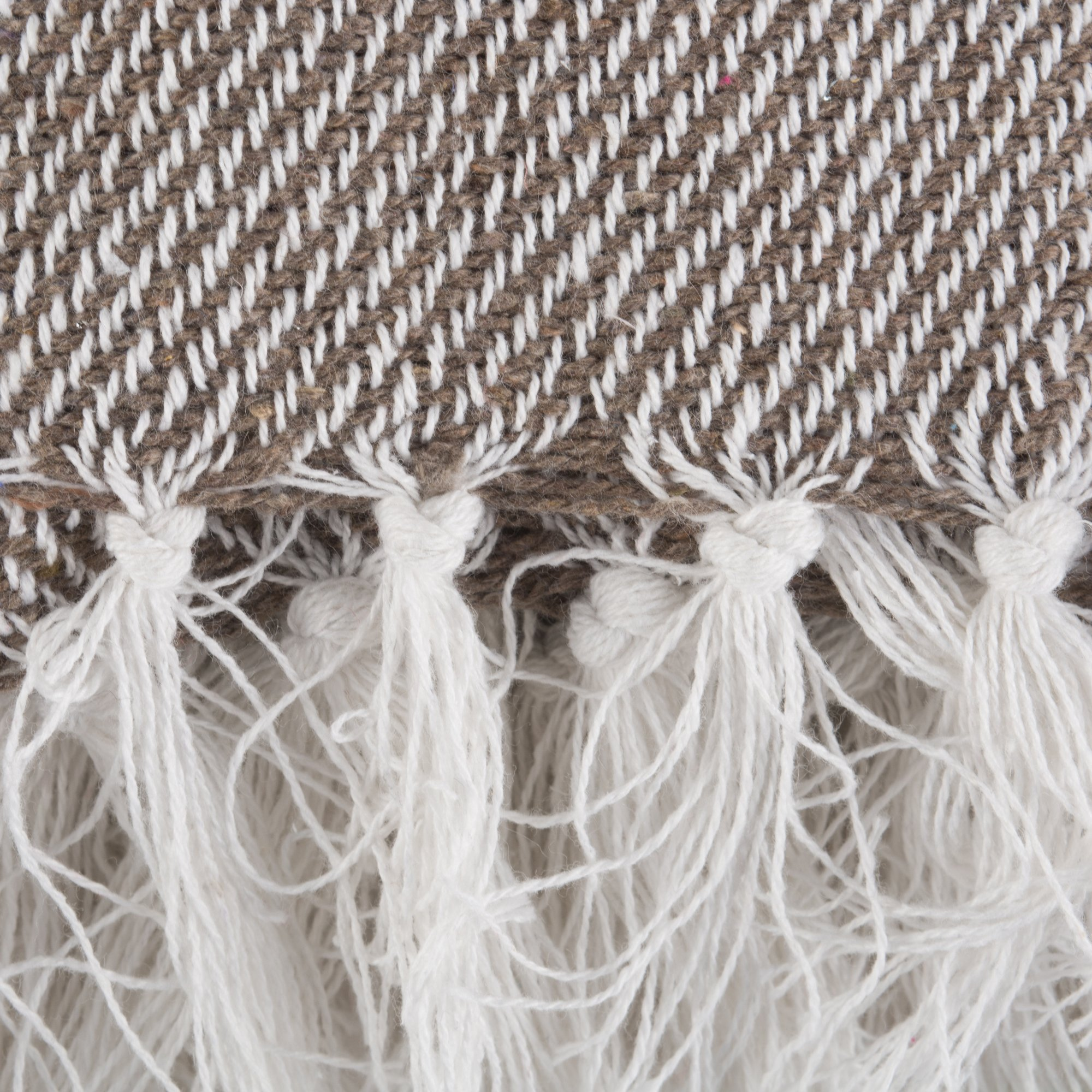 DII Rustic Farmhouse Cotton Thin White Striped Blanket Throw with Fringe For Chair, Couch, Picnic, Camping, Beach, & Everyday Use , 50 x 60'' - Stone by DII (Image #4)