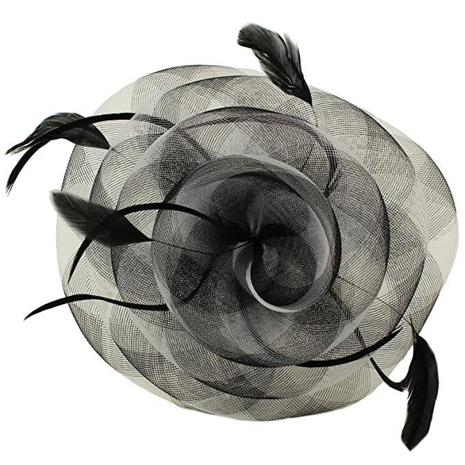 Something Special Swirl Floral Feathers Fascinators Headband millinery  Cocktail Derby Hat Black 46216ae9513