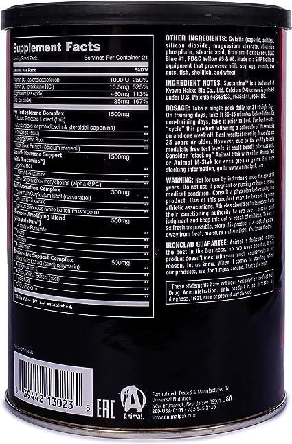 Suplemento de refuerzo de hormona natural Animal Stack de Universal Nutrition/Animal Stak Natural Hormone Supplement