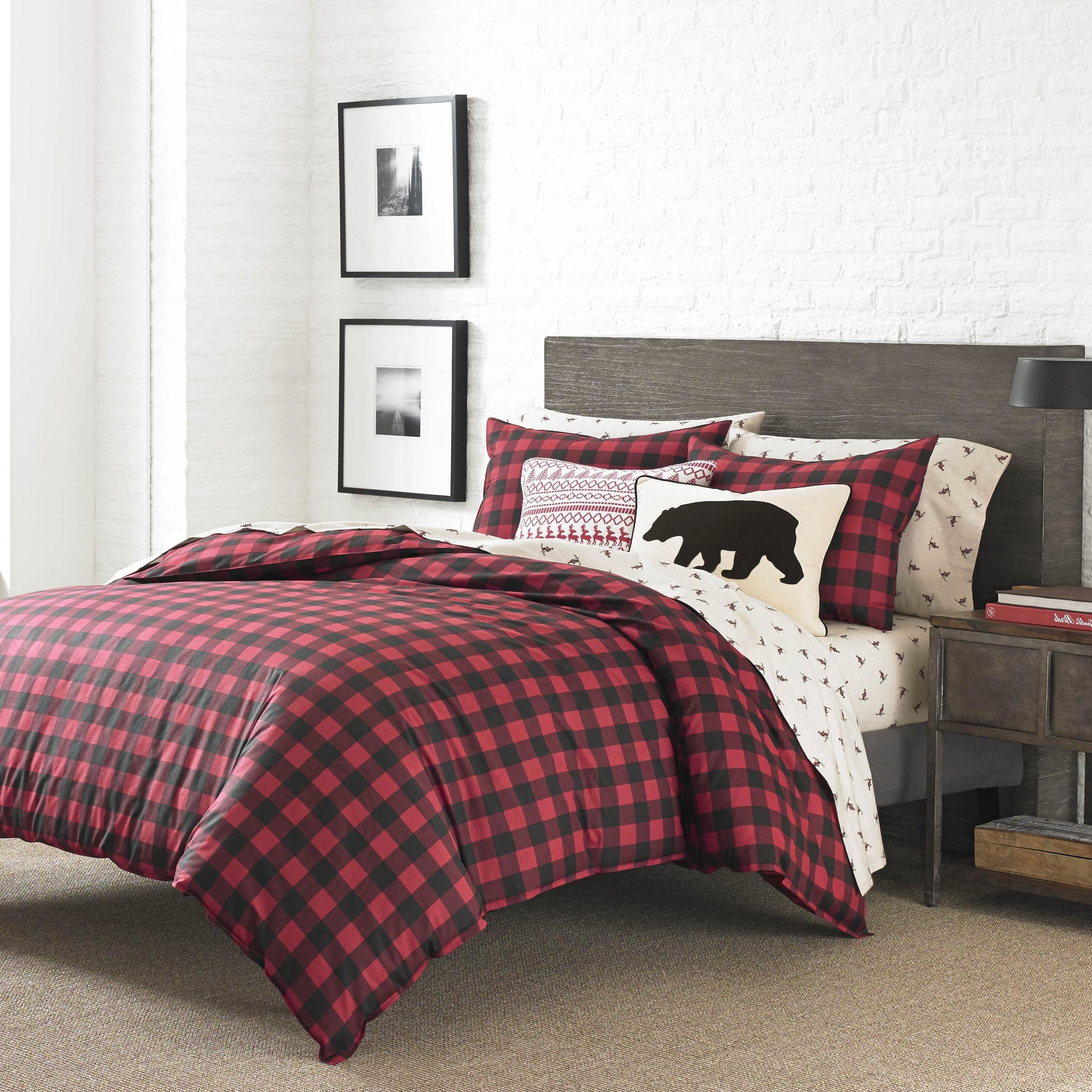 MP 3 Piece Vibrant Red Plaid Full Queen Size Duvet Cover Set, Cabin Themed Lodge Country Checkered Bedding Squared Tartan Madras Rustic Lumberjack Pattern Cottage Checked Woods,Cotton, Percale Cotton