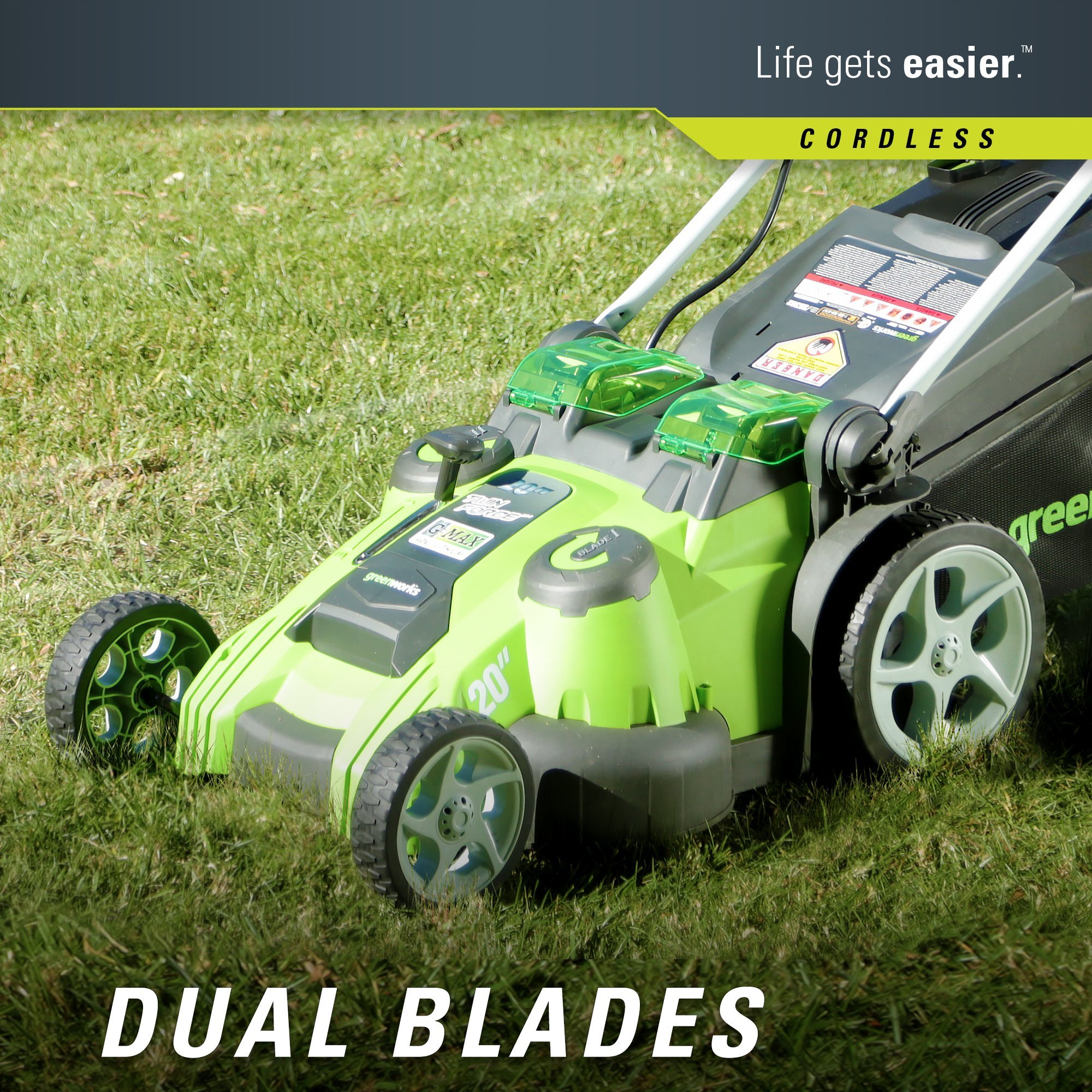 Greenworks 20-Inch 40V Twin Force Cordless Lawn Mower, 4.0 AH & 2.0 AH Batteries Included 25302 by Greenworks (Image #6)