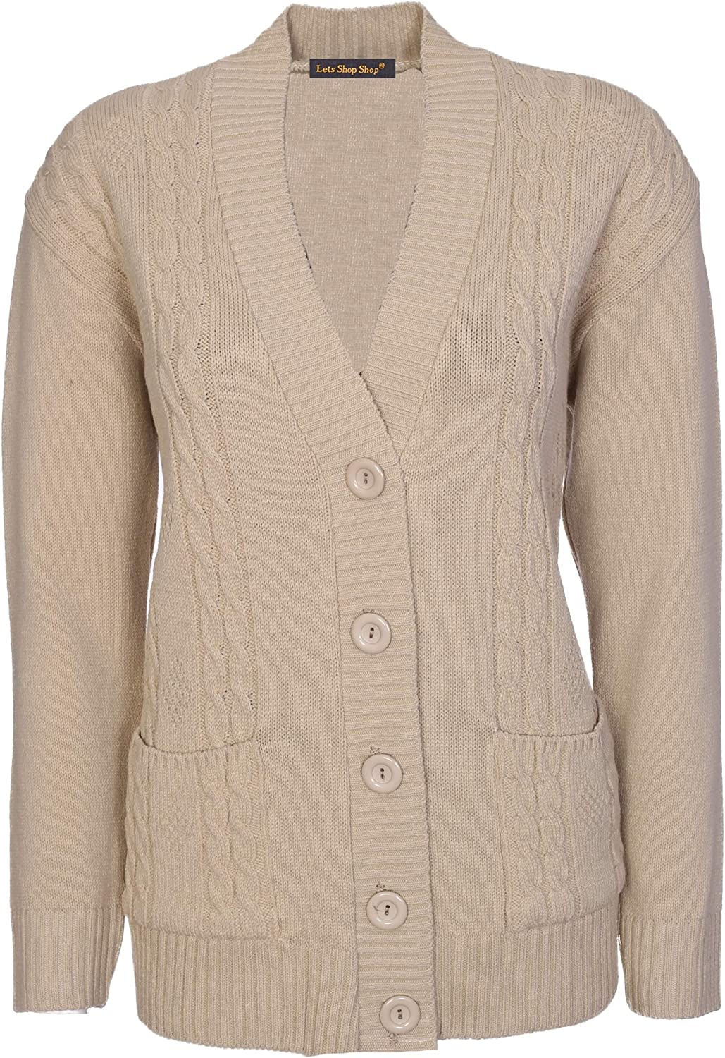 Lets Shop Shop New Classic Womens Cardigan Ladies Sizes 10-20 Cable Knit Long Sleeve Aran Type Grandad Button Down Pockets Sweater