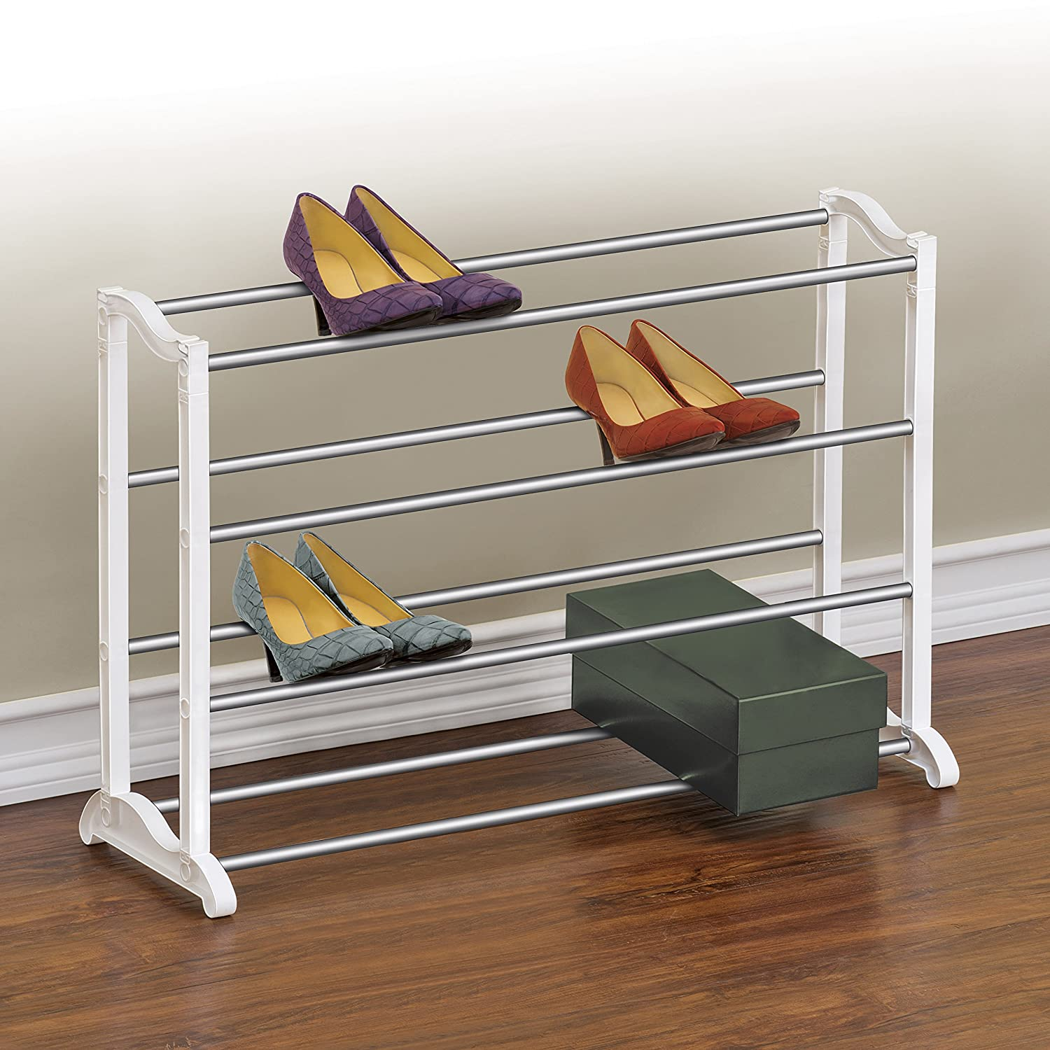 amazoncom lynk 20 pair shoe rack 4 tier shoe shelf organizer white home u0026 kitchen