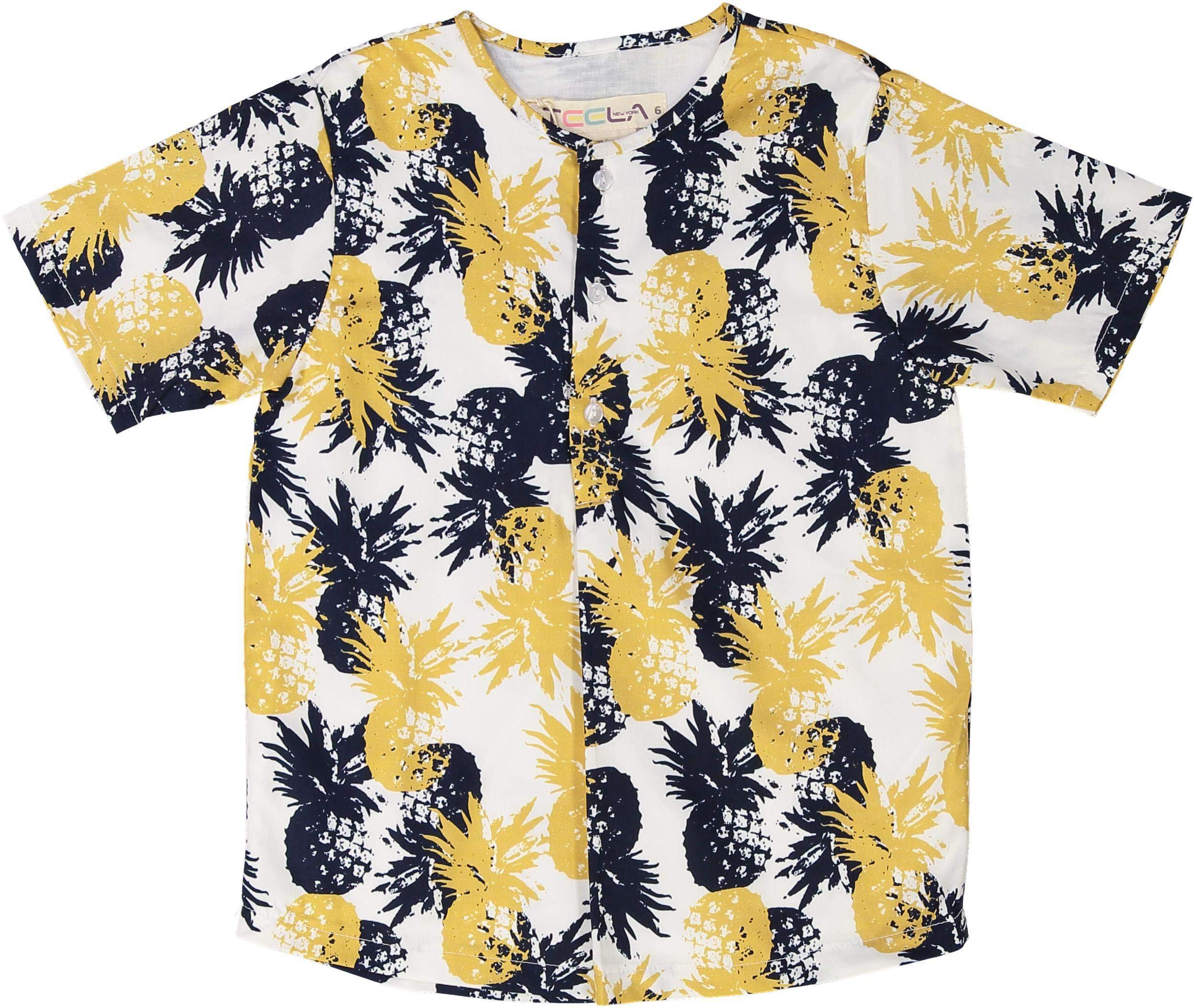 Teela Boys Short Sleeve Dress Shirt with No Collar - SB09A - Pineapple, 5