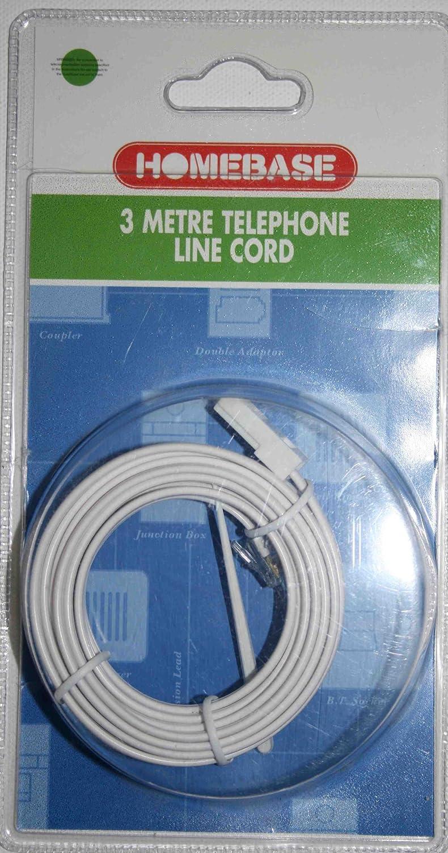 Homebase 3 metre Telephone Line Cord, White: Amazon.co.uk: Electronics