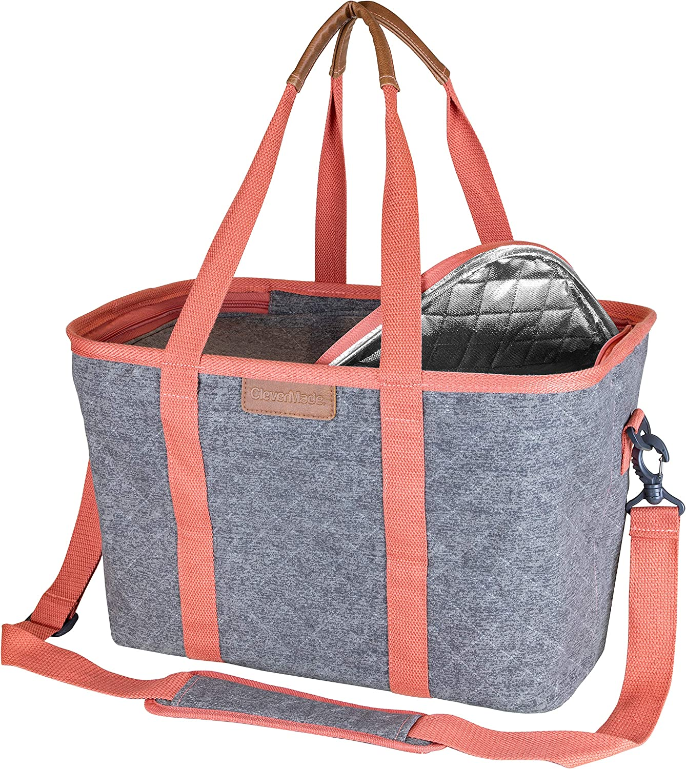 CleverMade SnapBasket Insulated Reusable Grocery Shopping Bag with Shoulder Strap, Reinforced Bottom and Zippered Lid, Collapsible Picnic and Food Delivery Tote, 30L Size, Heather Grey/Coral