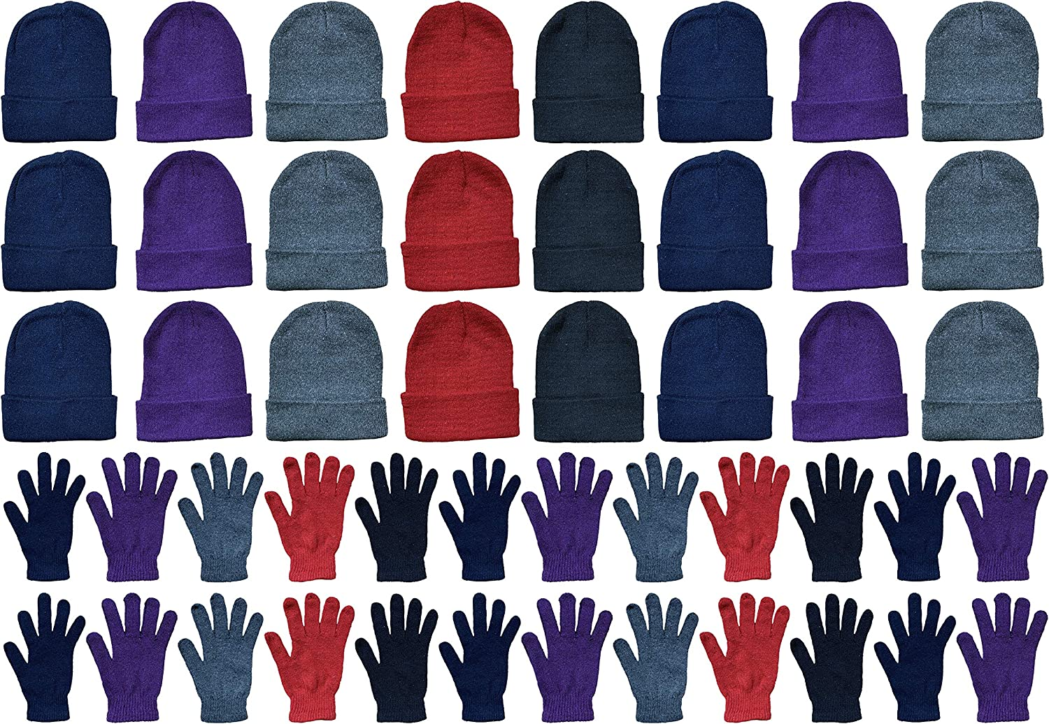 Yacht & Smith Mens Womens Hats and Gloves Set, Winter Bulk Wholesale Sets