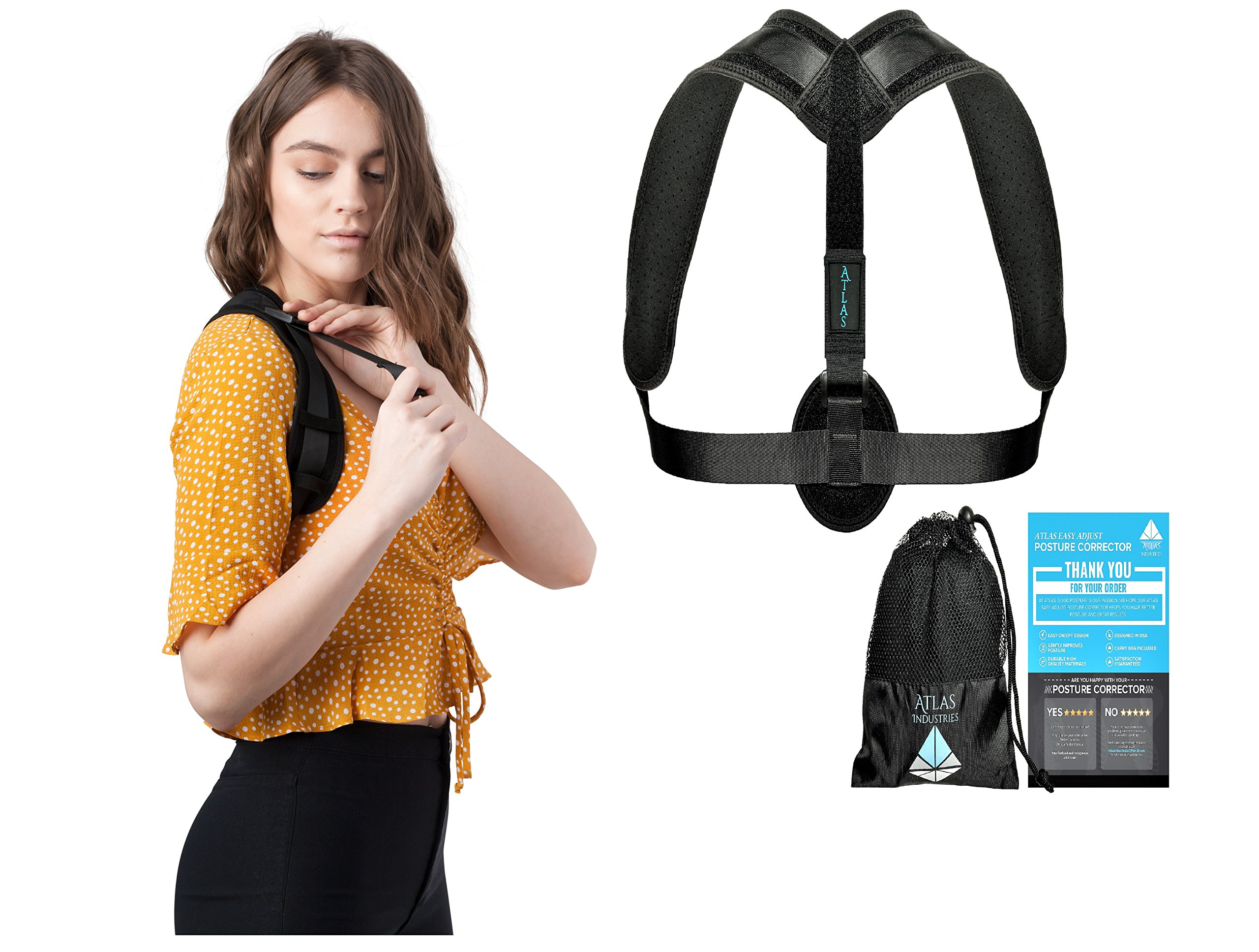 Comfortable Posture Corrector For Women or Men by Atlas | The Best Posture Brace For Women And Men | Easy To Wear | One Size Fits Most - Up To 50'' Chest | Carry Bag Included | Designed In USA