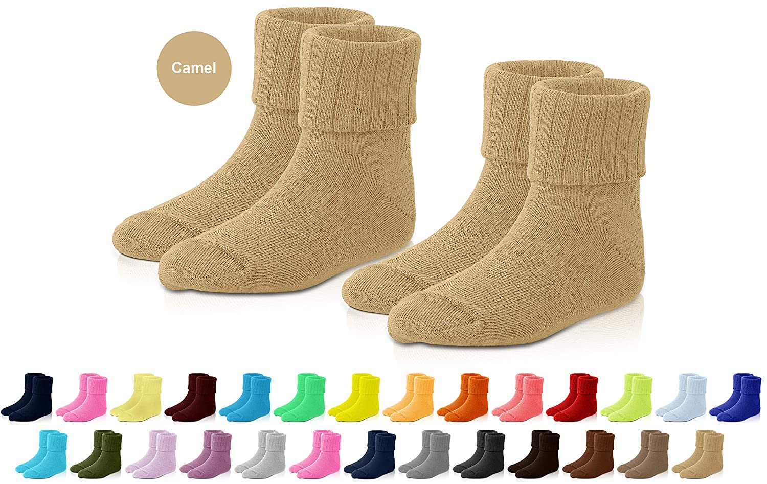 Newborn 35 Colors Toddler and Child JRP Kids and Baby Socks 2 Pack Soft Cotton Crew Length for Boys and Girls