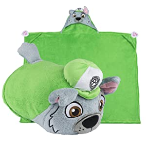 Comfy Critters Stuffed Animal Blanket – PAW Patrol Rocky – Kids Huggable Pillow and Blanket Perfect for Pretend Play, Travel, nap time.