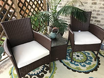 Brilliant Cloud Mountain Patio Bistro Set 3 Piece Wicker Rattan Outdoor Bistro Set Brown Patio Table And Chair Set Comfortable Modern Easy Assembly Patio Lawn Home Remodeling Inspirations Cosmcuboardxyz