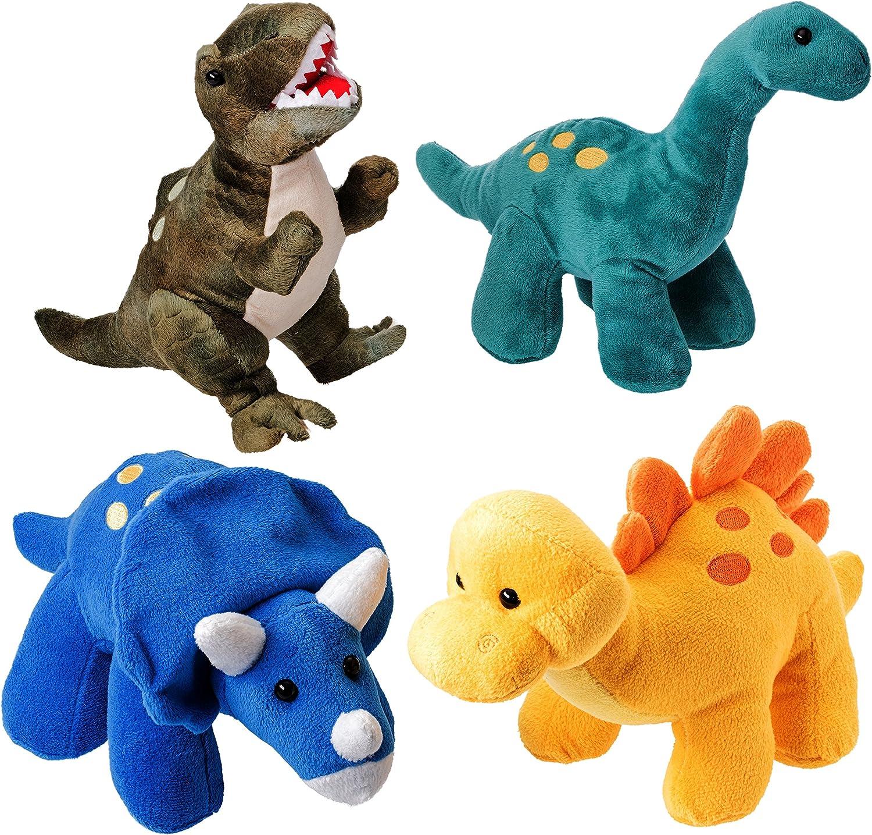 Prextex.com Dinosaures de Haute Qualit/é Pack de 4 de 25 cm de Long Beau Cadeau pour Les Enfants Assortiment d/'Animaux en Peluche Beau Cadeau de No/ël pour Enfants