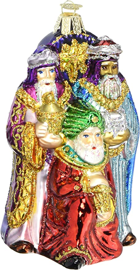 LOT 4 CHRISTMAS GLASS ORNAMENTS NATIVITY BABY JESUS WISE MEN NORTH STAR BELIEVE