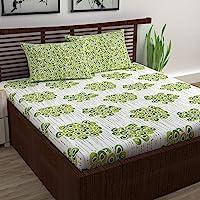 Divine Casa 100% Cotton Double Bedsheet with 2 Pillow Cover