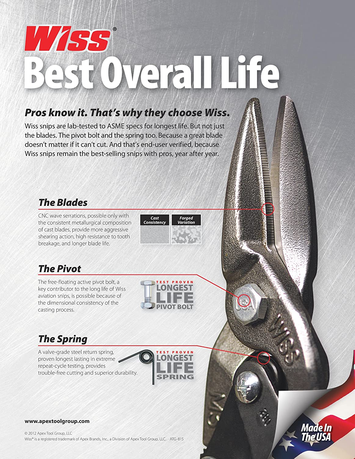 Details about  /Wiss Cutting Pliers 9 3//4 Inch Straight Cut Aviation Snip Rubber Steel Hand Tool