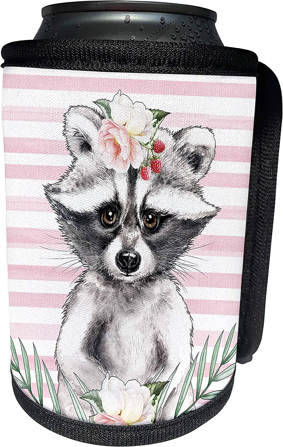 3dRose Anne Marie Baugh - Designs and Illustrations - Cute Image Of Watercolor Racoon Design - Can Cooler Bottle Wrap (cc_309385_1)