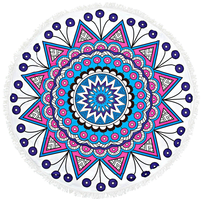 Meersee 150CM Telo Mare Rotondo Mandala Tapestry Round Meditation Yoga Mat Large Sun Coperte Nappe (2)