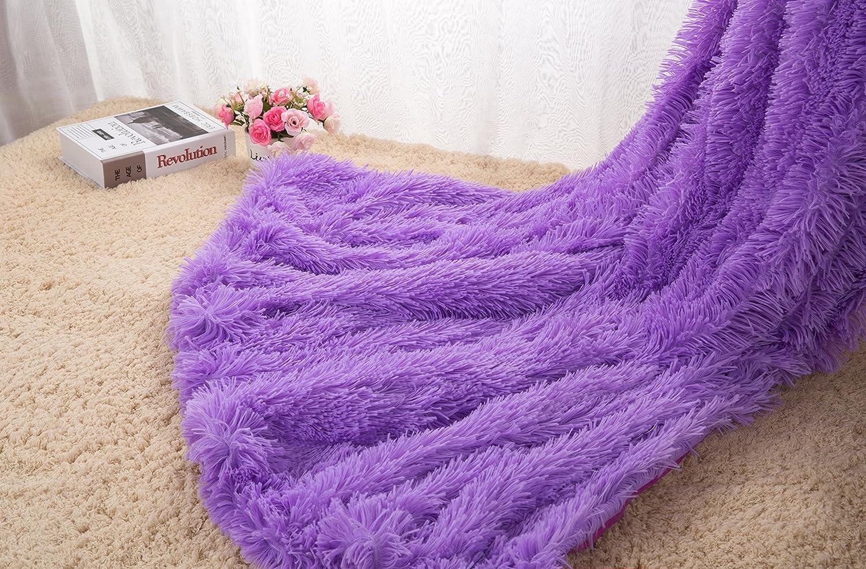 WINLIFE Super Soft Shaggy Faux Fur Long Hair Throw Blanket Cozy Elegant Decorative Blanket Purple 63''x 79''