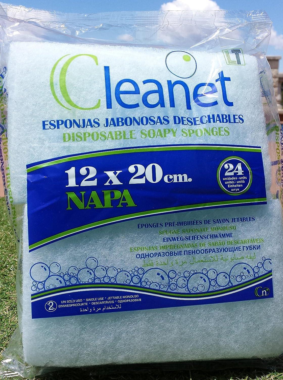 Cleanet: esponja jabonosa desechable napa 12x20 90grs. 10pqs x 24uds (240). Envío gratis: Amazon.es: Salud y cuidado personal
