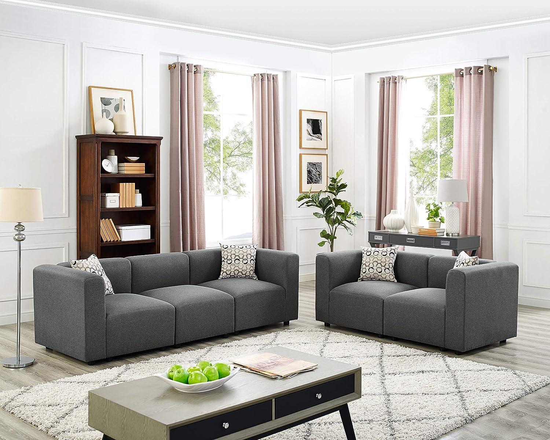 Amazon.com: Oadeer Home Nash Modular Sofa Steel Grey ...