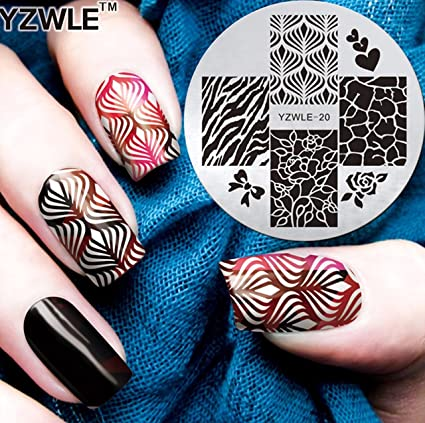 Amazon Com Yzw20 Rose Flower Heart Zebra Nail Art Image Plate