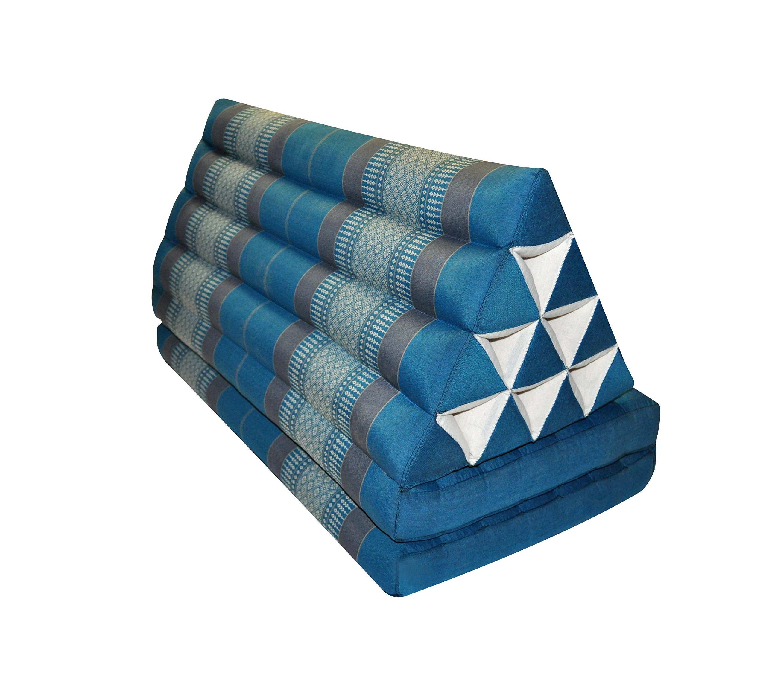 Thai triangle cushion XXL, with 2 folding seats, blue/grey, sofa, relaxation, beach, pool, meditation, yoga, made in Thailand. (82617) by Wilai GmbH