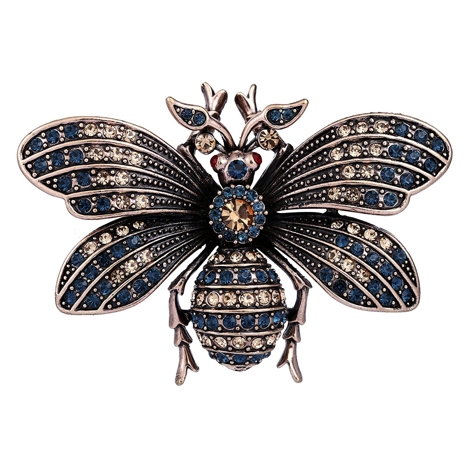 BriLove Women's Vintage Inspired Crystal Bee Brooch Pin 12001867-1ca