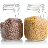 Klikel Square Glass Kitchen Storage Canister Jars - Crystal Clear Food Storage Jars With Clear Lid And Bail & Trigger Hermeti
