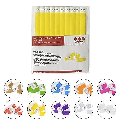 """Cintapunto® - Pulseras Tyvek de 3/4"""", 100 piezas/paquete."""