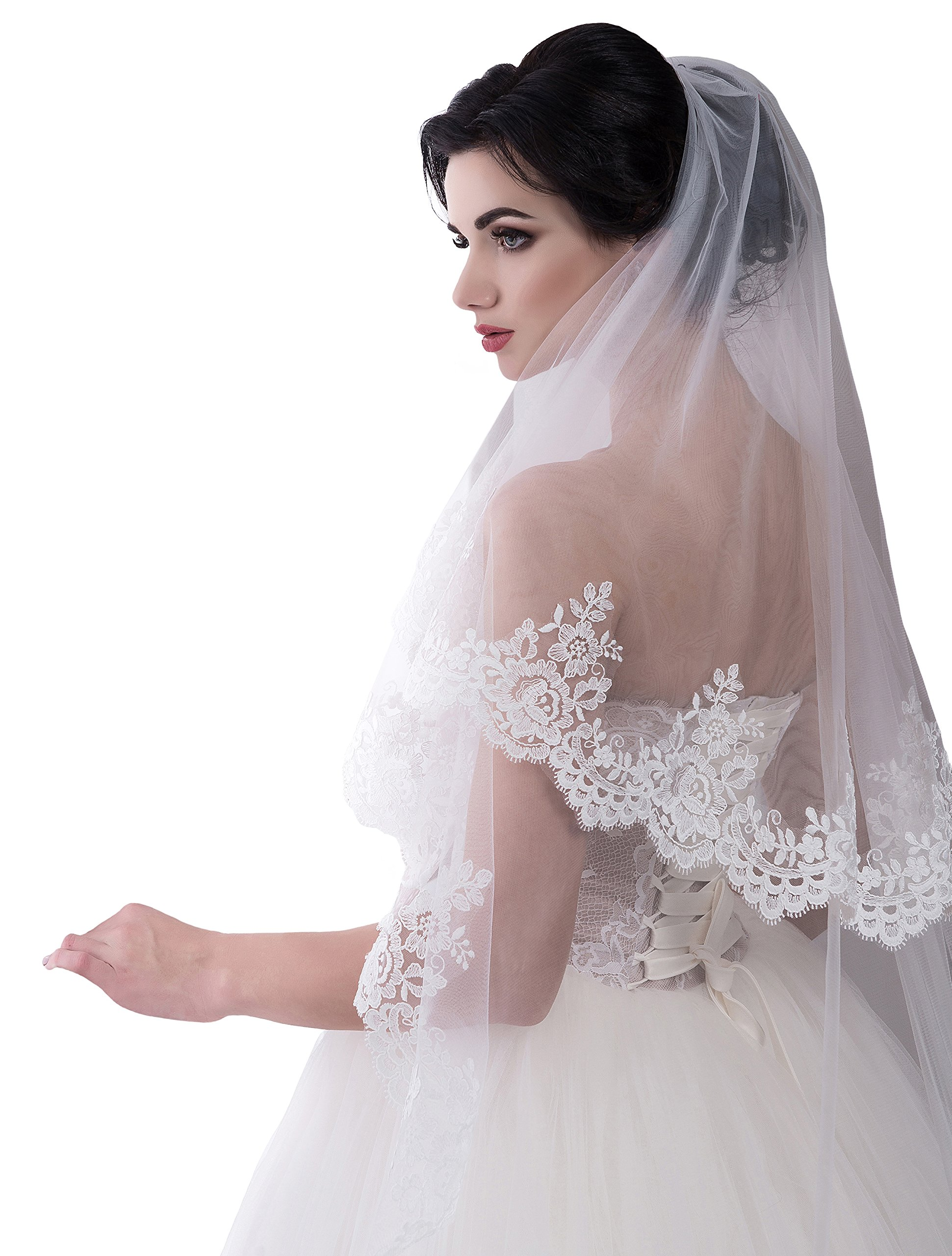 Bridal Veil Sienna from NYC Bride collection (short 30'', white)