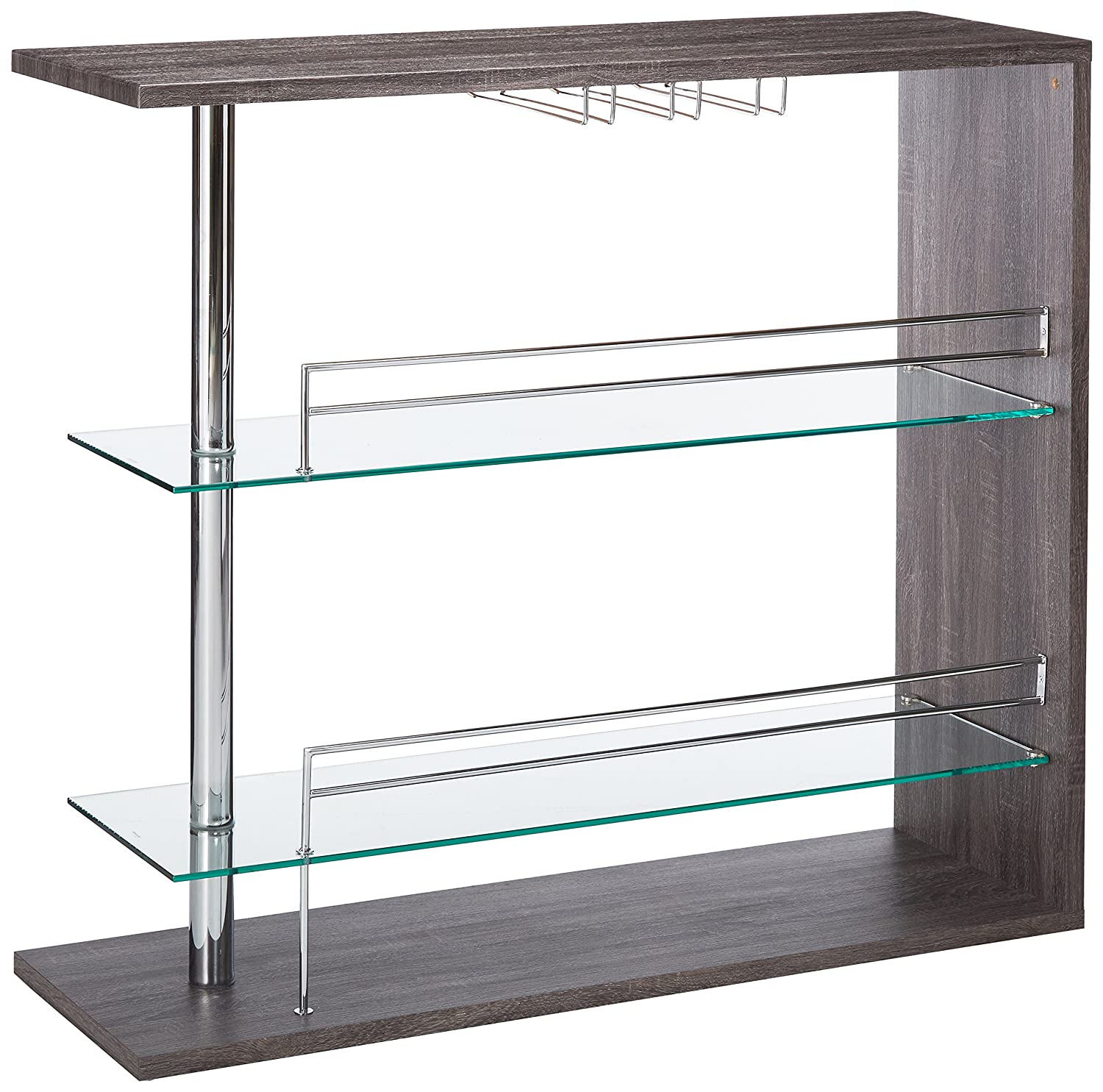Rectangular 2-shelf Bar Unit with Wine Holder Weathered Grey, Chrome and Clear Coaster 100156