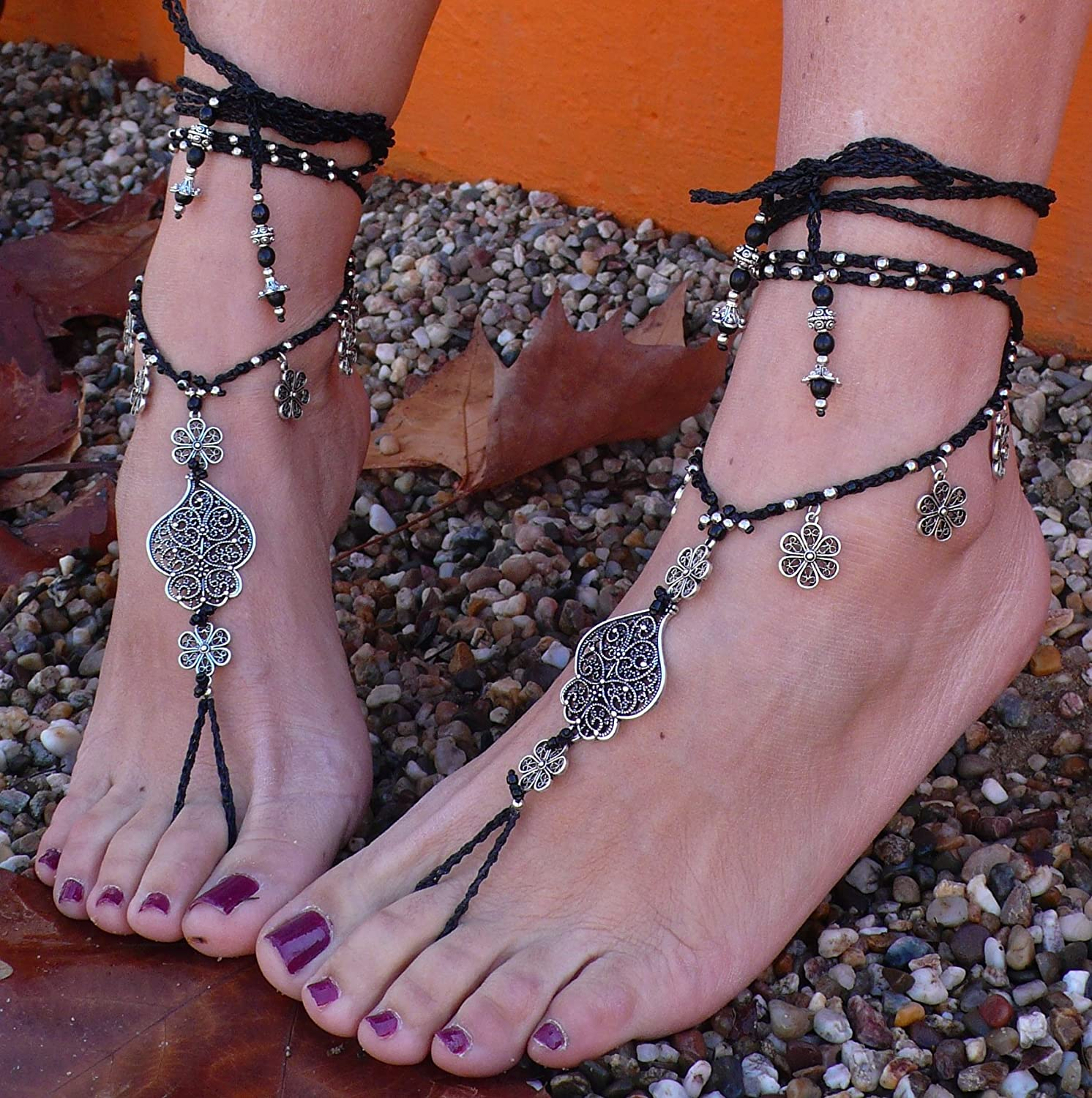 Pano Para Tanto Heart of Viana Barefoot Sandals Black Foot Jewerly