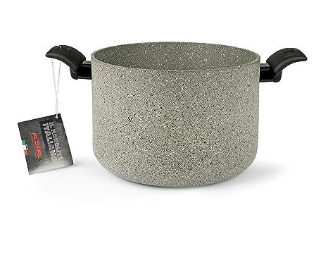 Flonal MITPE2090 - Olla italiana (20 cm), aluminio, efecto piedra