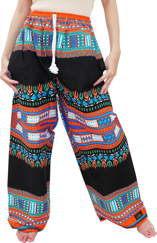 New Black orange Raan Pah Muang RaanPahMuang Baggy Straight Leg Carnival Dashiki Print Unisex Pants Africa Print