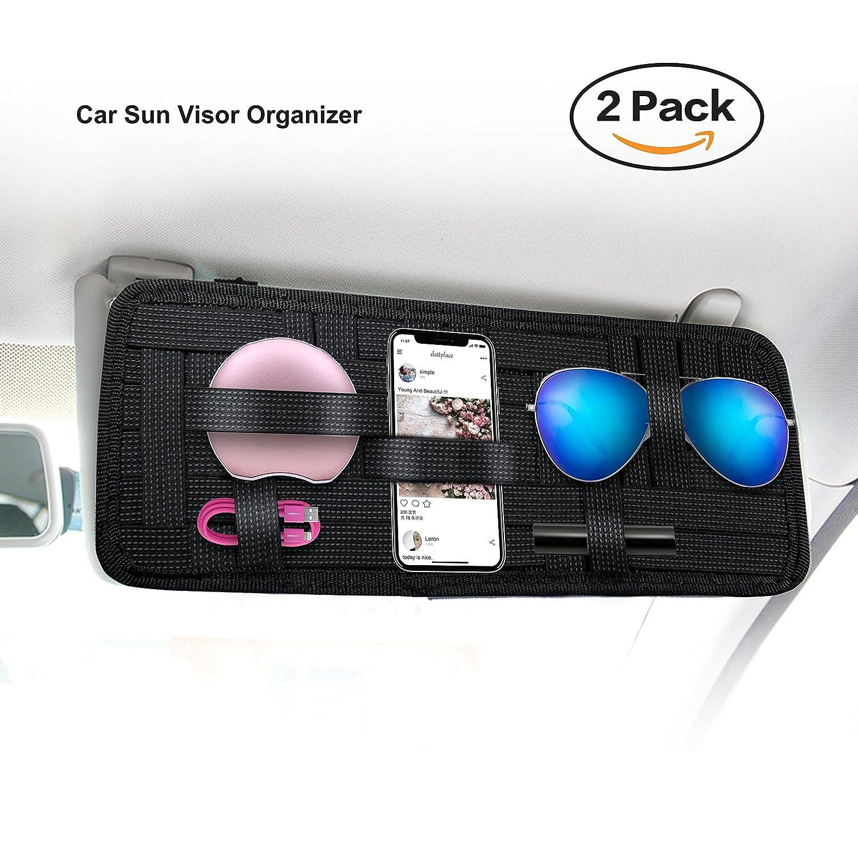 Keku2 un sac de stockage de pare-soleil pour voiture stockage antid/érapant tiss/é table /élastique lunettes de soleil support de carte de carburant accessoires num/ériques