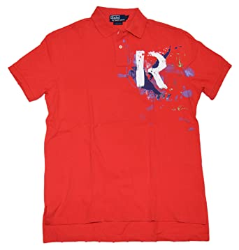 Polo Ralph Lauren Mens Custom Fit Pullover Mesh Rugby Shirt Red Blue Large