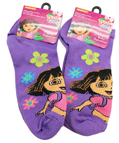 Dora the Explorer Violet Colored Kids Floral Socks (Size 6-8, 2 Pairs