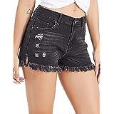 lianger Denim Jean Shorts for Women High Waist Cutoff Slim Fit Frayed Tassel Hem Summer Beach Ripped Shorts Plus Size