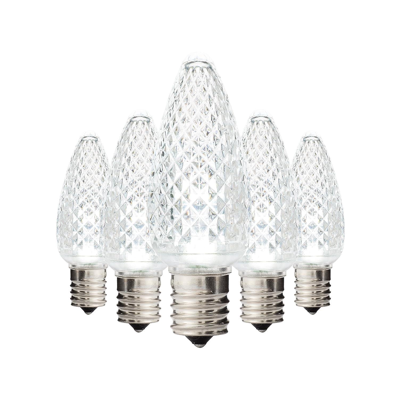 ホリデー照明コンセントLEDファセットc9 Teal交換用クリスマスライト電球e17ソケット、エネルギー効率的な商用グレード、3ダイオード0.58ワット( LED )電球。 C9, E17 B00F9CI5RO 25360 クールホワイト|25 クールホワイト