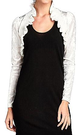 5883a81ff4 The True Love Junior Size Crush Velvet Long Sleeve Front Shirred Shrug  Bolero