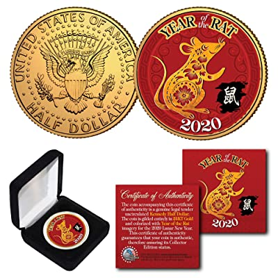 2020 Lunar Chinese New YEAR OF THE RAT Kennedy U.S. Coin with BOX and CERTIFICATE: Everything Else