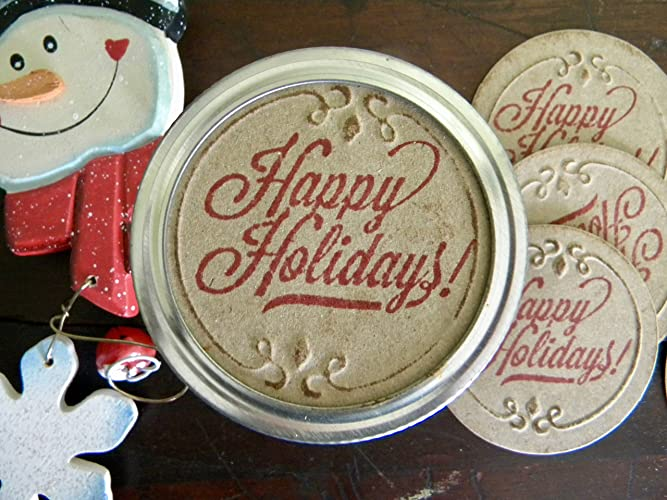 amazon com happy holidays canning jar lids jar stickers gifts in