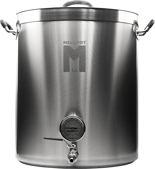 Megapot 1.2 Stainless Steel Brew Kettle with Volume Markings 10 Gallon w//Valve Northern Brewer