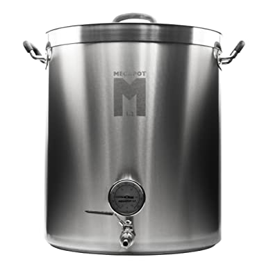 Northern Brewer - Megapot 1.2 Stainless Steel Brew Kettle with Volume Markings (15 Gallon w/Valve and Thermometer)