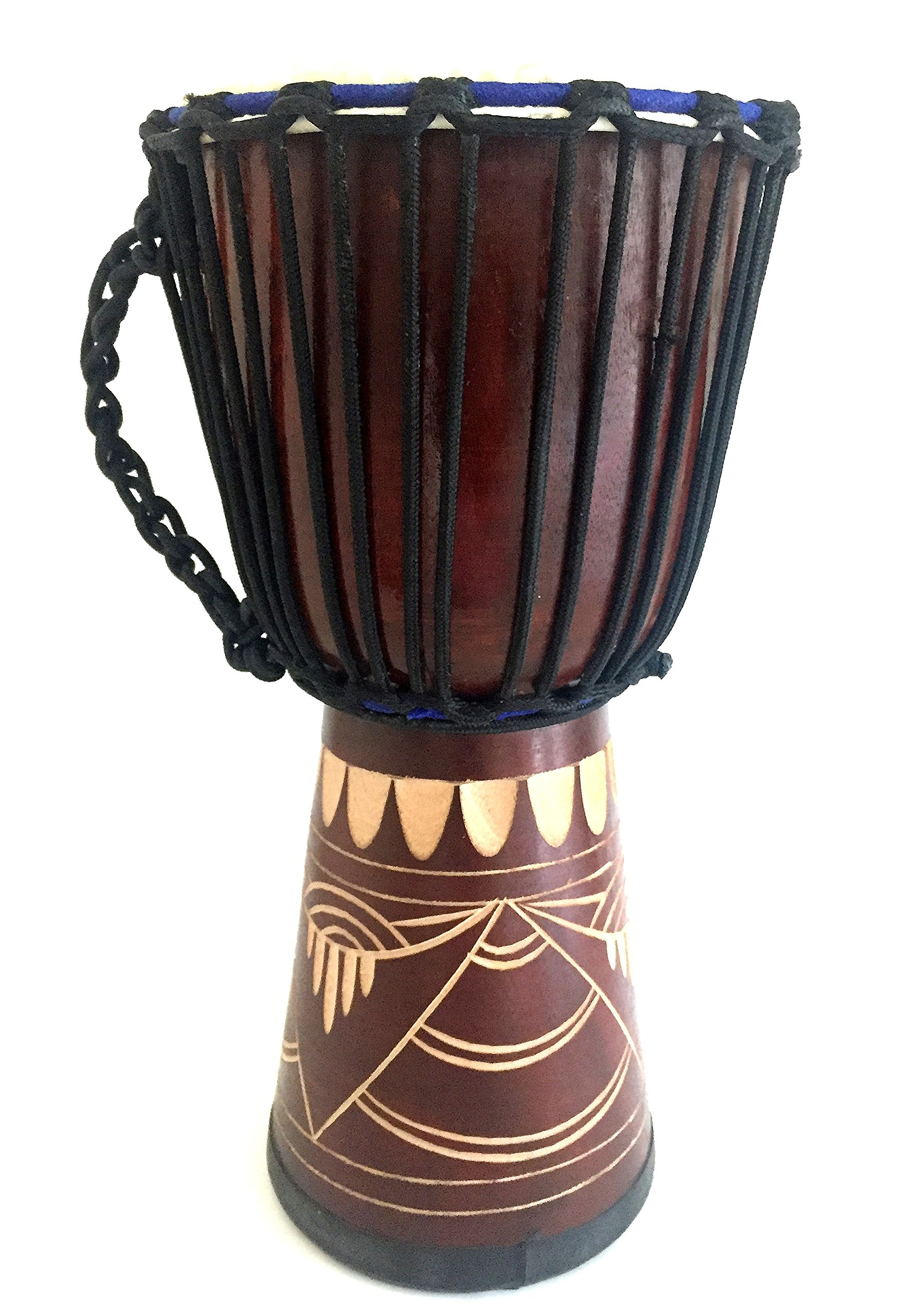 Djembe Drum Bongo Congo African Wood Drum 16'', JIVE (TM) BRAND, Professional Premium Quality With Heavy Base/Includes Drum Key Chain by Jive