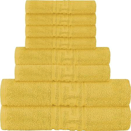Casa de Oro - Juego de toallas de 8 piezas, 2 toallas de baño, 2 toallas de mano, 4 paños de baño, 600 g/m², 100% algodón egipcio hilado en anillo, altamente absorbente (mostaza): Amazon.es: Hogar